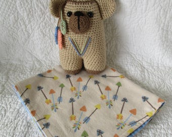 Lil Indian Bear Rattle with security blanket