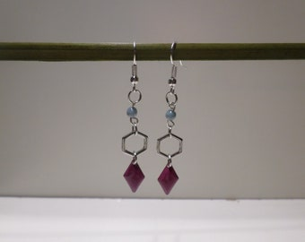 drop earring geometric silver purple jewelry gift women teenager friend