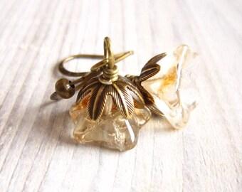 Fleur II Posy Drop Earrings in Champagne Glow and Brass