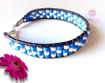 Woman's bracelet on fur and beads-Boho-beads-womans Beaded Bracelet