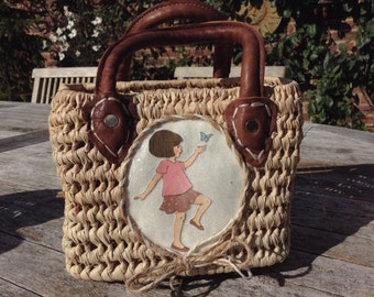Girl's Wicker Basket with Leather Handles, Belle and Boo 'Belle with Butterfly' Picture