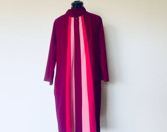 70s Mod Purple Color Block Robe Long Sleeves by  Space Age Size L Loungewear by JC Penny
