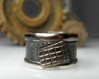 brutalist grunge man ring, mixed metal art ring, industrial, rustic jewelry