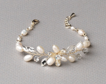 Floral Gold Wedding Bracelet, Gold Wedding Bracelet, Freshwater Pearl Bracelet, Rhinestone Bracelet, Gold Bracelet, Bride Jewelry ~JB-4824