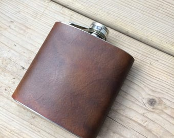 Dark Brown Leather Hip Flask