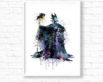Maleficent Disney, Maleficent Art, Disney Print, Maleficent Poster, Disney Poster, Disney Villain, Disney Wall Art, Watercolor Print, ET220
