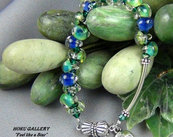 """Green and Blue Glass Teardrops, Swarovski Crystals, Sterling Silver Magnetic Clasp, Bracelet - 6.25"""" Hand Crafted Artisan Jewelry"""