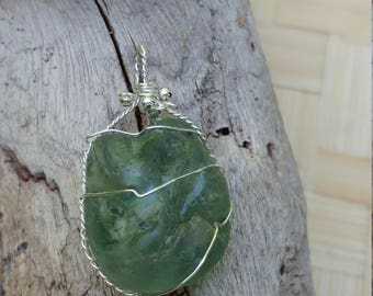 BONFIRE seaglass pendant wrapped in sterling silver wire