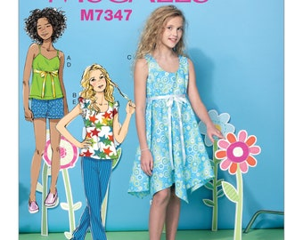 McCall's M7347 Girls'/Girls' Plus Spaghetti Strap or Tank Tops, Handkerchief-Hem Dress, Shorts and Pants