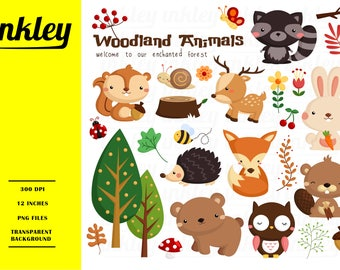 Woodland Animal Clipart, Woodland Animal Clip Art, Woodland Animal Png, Nursery Art, Bear, Rabbit, Owl, Hedgehog, Deer, Skunk, Beaver, Tree