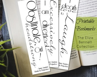 3 Printable Bookmarks // Elizabeth Bennet Quotes // Pride and Prejudice // Jane Austen // Gifts for Readers // Classic Book Quotes //