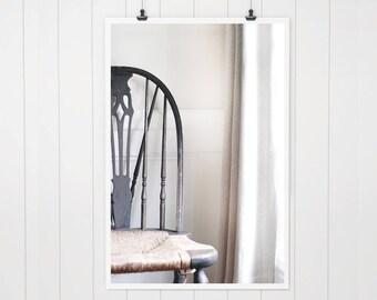 Antique Chair, rustic home decor, still life photo, ivory brown white farmhouse decor, fixer upper decor, rustic country room decor