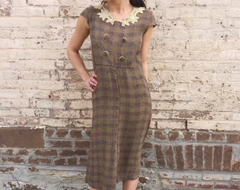 Sweetest 1930's Rayon Midi Dress With Hand Crocheted Lace Peter Pan Collar SMALL