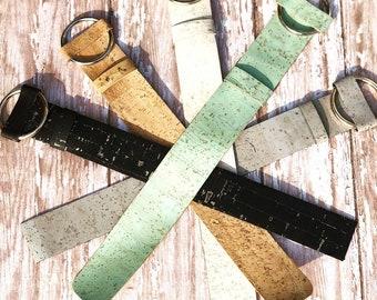Cork belt buckle bracelet cuff