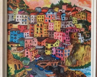 """Original Acrylic Painting -Town in the mountains 30x40 cm (ca. 12x16"""")"""