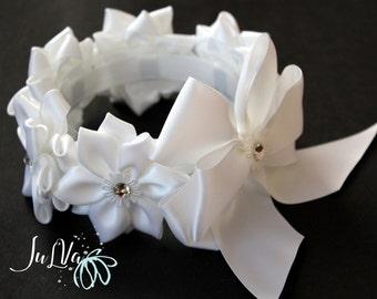 White Kanzashi Hair Bun Wrap. Flower Crown Bun Wrap. White Flower Bun Wrap.Flower Bun. Ballet Headpiece. Ballet Floral Crown