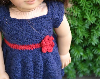 18 inch Doll Clothes, Sunrise Sunday Dress, Navy Blue Red, crochet dress, MADE TO ORDER, fits American Girl Doll