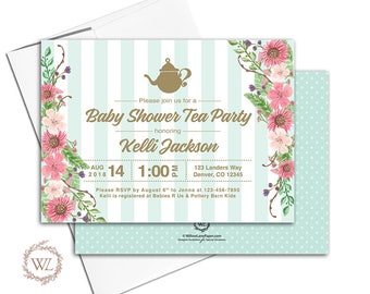 Tea Party Baby Shower invitation, Mint and Gold Gender Neutral Baby Shower Invite Floral, Printable or Printed - WLP00713