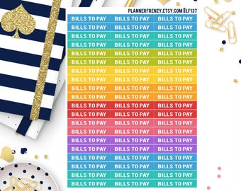"60 ""Bills To Pay"" Section Header Planner Stickers! LF137"