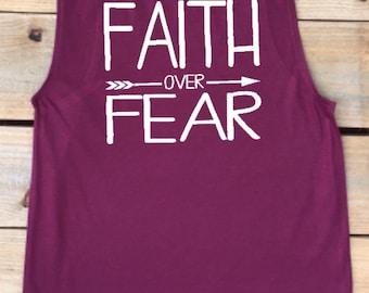 Muscle tank, muscle shirt, faith over fear, workout shirt, workout, women's tank