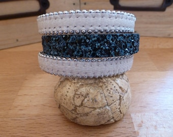 Navy glitter ivory and blue leather Cuff Bracelet