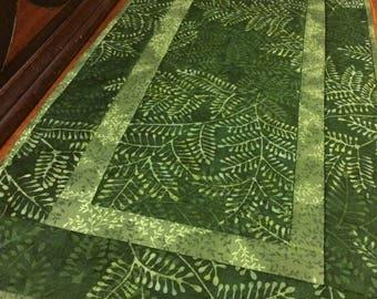 Forest green table runner, green batik table runner, green table runner, green leaf table runner, fern table runner, quilted table runner