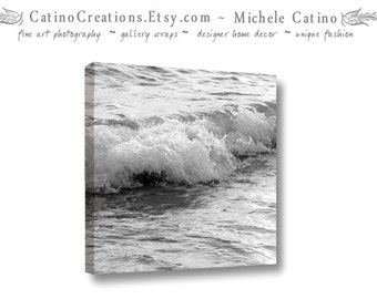 Gallery Wrap Canvas Ocean Waves Sea Beach House Decor Black and White Vacation Home Art Water Wall Art Ready to Hang
