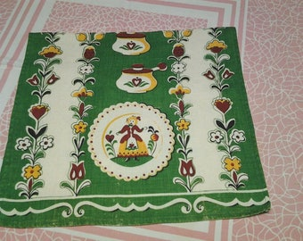 Vintage tea towel, sweet kitchen design,  retro, dish towel FREE Shipping!