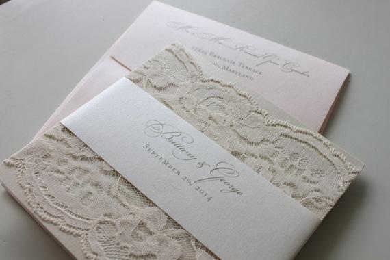 Soft Romantic Lace Wedding Invitation in Champagne Blush