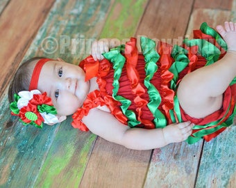 First Christmas Outfit Girl, Baby First Christmas, Romper, My 1st Christmas, Baby Girls, Toddler Girls, Baby Christmas Outfit, Ruffled Baby