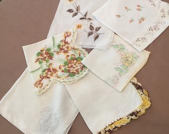 Six Vintage Handerkerchiefs, Yellow Colors