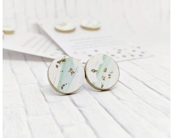 jade and white earrings lightweight earrings polymer clay earrings gold earrings bridesmaid gift for her secret Santa gift clay jewelry