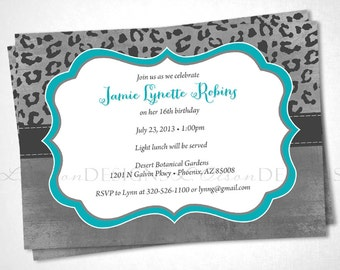Cheetah Print Birthday Invitation - Aqua - DIY printable