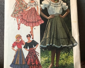 Vintage 70s Simplicity 7842 Blouse and Skirt Pattern- Size 12 (34-26 1/2-36)