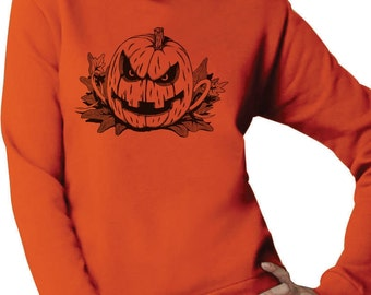 Scary Pumpkin Halloween Women's Crewneck Sweatshirt
