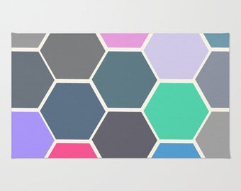 Colorful Hexagon Art  - Floor Rug - Throw Rug - Room Rug - Door Rug - Bathroom Decor - Made to Order