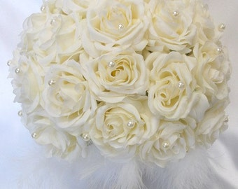 """Round Bridal Bouquet Groom Boutonniere IVORY """"Lily Of Angeles"""" IVIV02"""