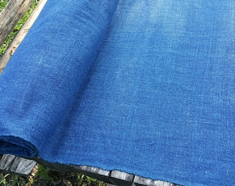 hand woven natural indigo dyed cotton fabric by the meter (HTH 1)