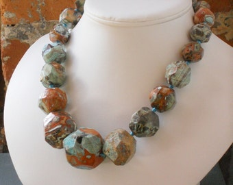 Graduated Picture Jasper Handknotted Blue Brown and Green Handknotted Necklace, The Geo Necklace