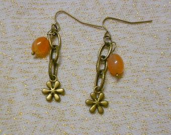 Jelly Bean Earrings Genuine Carnelian Gemstone