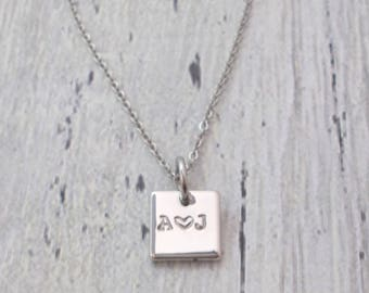 Personalized Square Necklace, Initial Necklace, Couples Necklace, Initial Jewelry, Daughter Necklace, Friend Gift, Anniversary Gift, Dainty