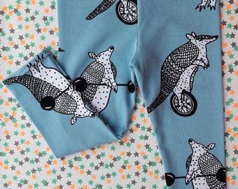 Armadillo Leggings, GOTS certified Organic Cotton Jersey, Baby leggings, Toddler leggings, ready to ship, organic kids clothes, organic baby
