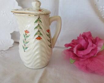Covered Jug - Creamer - Hot Water Jug - Pot - Japan - Royal Trico - Hand Painted - Vintage