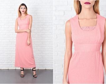 Pink Boho Dress Vintage 70s Hippie Knit Beaded Maxi Small S 8466