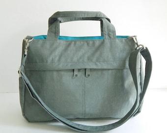 Sale - Water-Resistant Bag in Grey- messenger bag, tote, crossbody bag, purse, shoulder bag, everyday bag, handbag - ANNIE