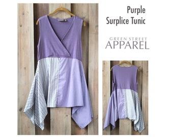 Purple Surplice Tunic, Upcycled Clothing, Refashioned Clothing, Flowy Purple Tunic, Artsy Tunic, Festival Wear, Fun Fashion, Women Upcycled