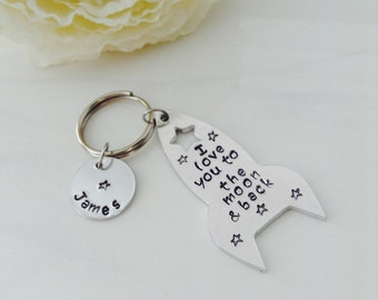 I love you to the moon and back keyring