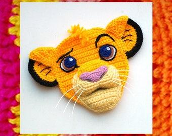 Crochet Pattern. Applique. Cute Little Simba Lion King face. Amigurumi knitted pattern. Fairytale kids gift. DIY kit. Cartoon appliques idea