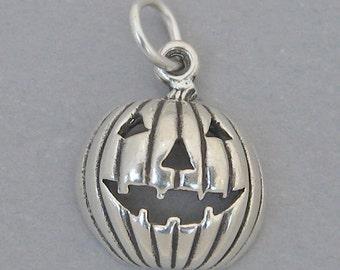 JACK O LANTERN Pumpkin Halloween Sterling Silver 925 Charm Pendant 1851