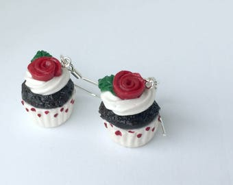 Valentine's Day Cupcake Earrings / With Red Roses And Poka Dots: Height Approximately 1.5 cm
